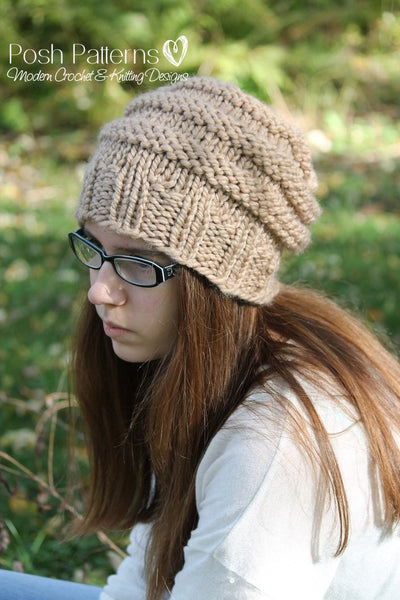 knit slouchy hat pattern