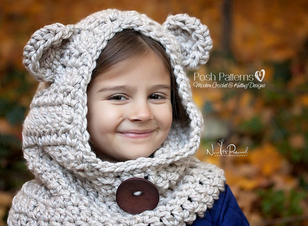 bear hood crochet pattern