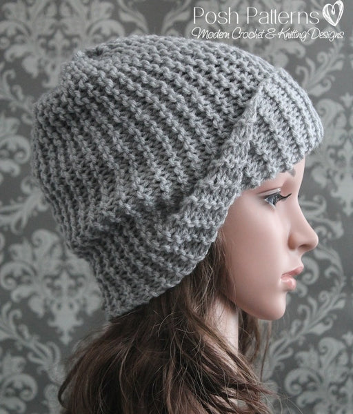 Knitting Hat Patterns For Beginners : Knitting pattern beginner knit slouchy hat