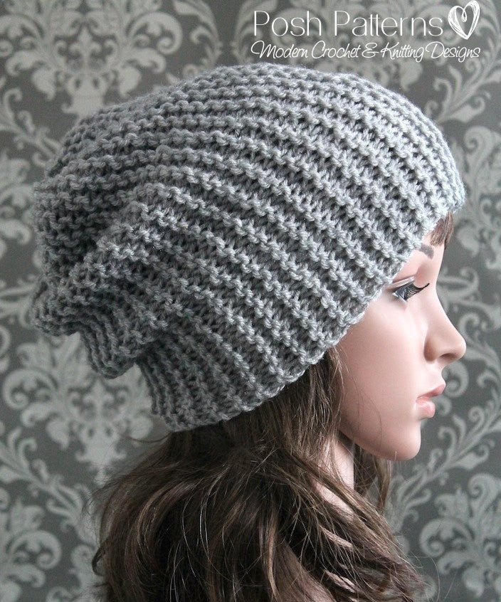Knitting Pattern Beginner Knit Slouchy Hat Pattern
