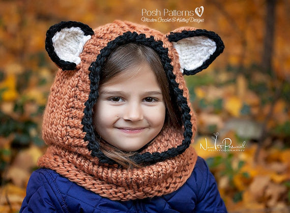 fox hood knitting pattern