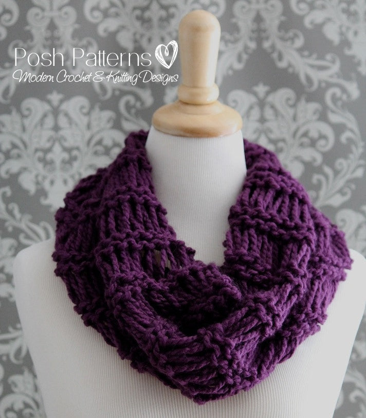 Knitting Patterns Easy Knit Infinity Scarf Pattern
