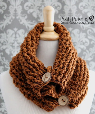 crochet button cowl pattern