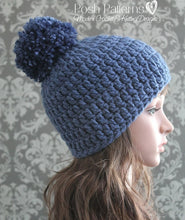Load image into Gallery viewer, easy pom pom beanie crochet pattern