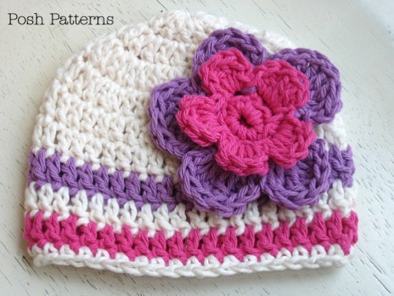 crochet beanie and flower pattern