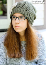 Load image into Gallery viewer, slouchy hat and bow crochet pattern