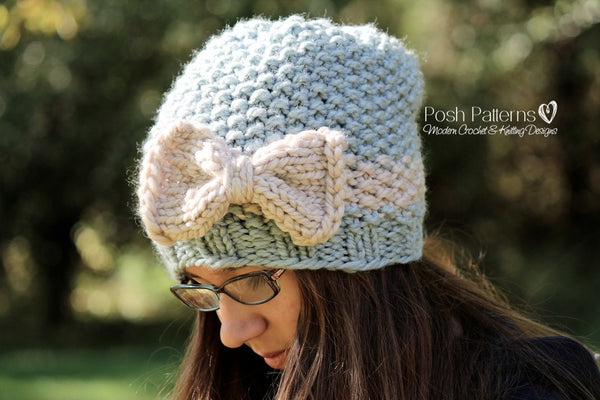 knit slouchy hat and bow pattern