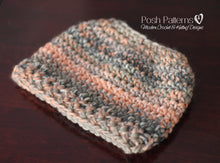 Load image into Gallery viewer, messy bun hat crochet pattern