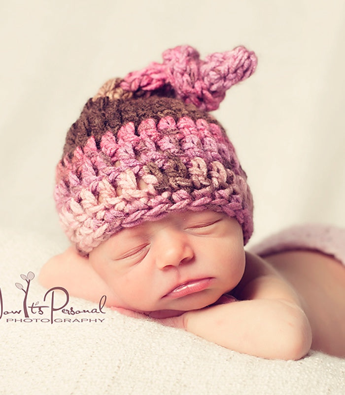 Crochet Pattern Top Knot Baby Hat Pattern