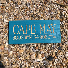 Cape May Latitude Longitude Sign