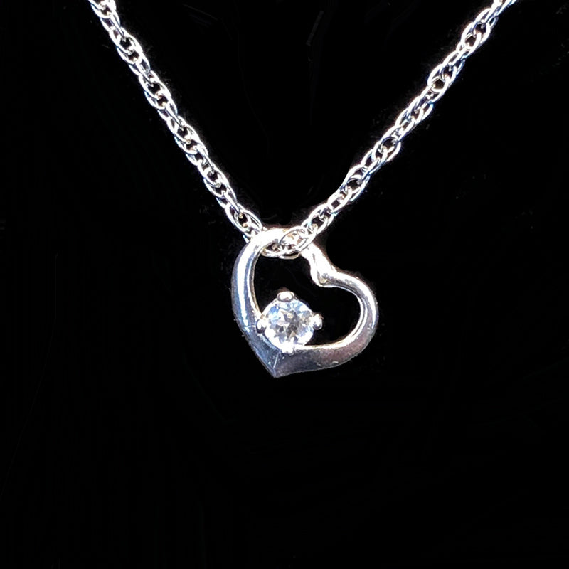 Floating 3mm Stone in Heart Pendant