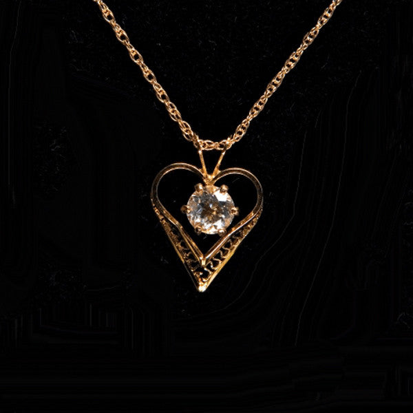 Victorian Heart Cape May Diamond 14kt Gold Filled Pendant