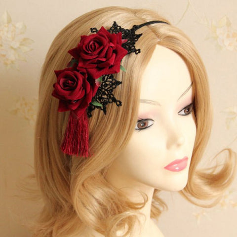 Retro Lace Flower Leaf Hairband For Women
