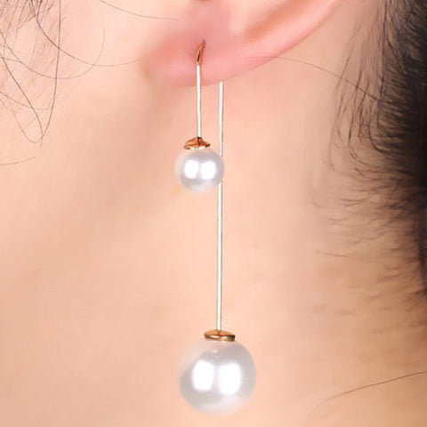 Pair of Delicate Round Faux Pearl Earrings For Women