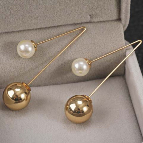 Pair of Stylish Ball Shape Faux Pearl Earrings For Women
