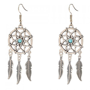 Pair of Trendy Hollow Out Feather Tassel Earrings For Women - The JfJ
