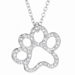 Trendy Rhinestone Footprint Shape Pendant Necklace For Women - The JfJ