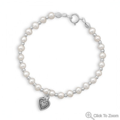 "Pearl and Silver Bead Bracelet with Oxidized Heart 6"" Cultured Freshwater - The JfJ"