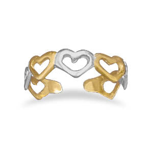 Toe Ring 14 Karat Gold Plated and Sterling Silver Heart
