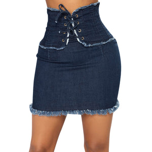 High Waist Solid Casual Denim Bodycon Lace Up Short - The JfJ