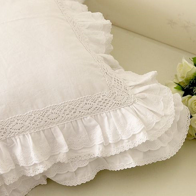 White European embroidered cushion cover ruffle Lace Satin - The JfJ