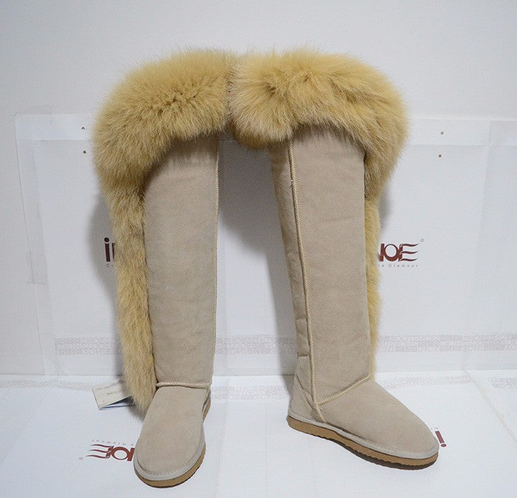 Side Fox Fur Suede Leather Over The Knee Boots - The JfJ