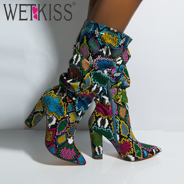 Colorful Snake Skin Block High Boots - The JfJ