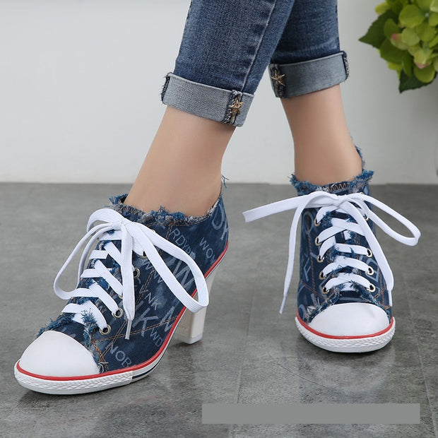 Cameo Canvas Denim High Heels - The JfJ