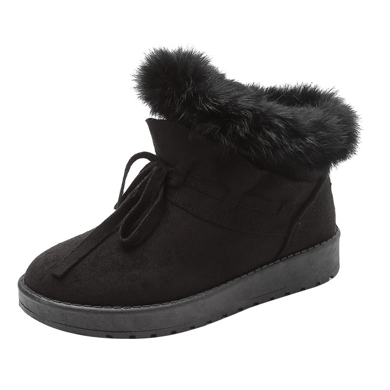 Rabbit Hair Ankle Snow Boots - The JfJ