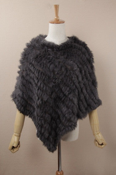 Real Rabbit Fur Poncho - The JfJ