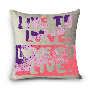 Printed Home Decorative Pillow/ Vintage Cotton Linen Square Throw Pillow - The JfJ