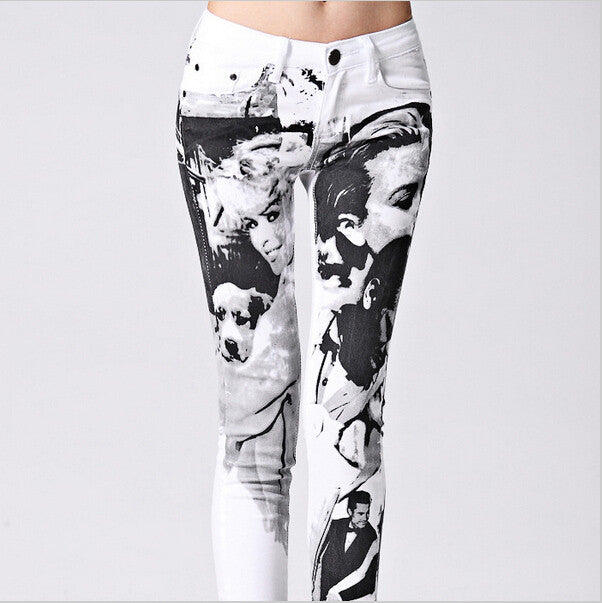 Slim Printed White Denim Jeans - The JfJ