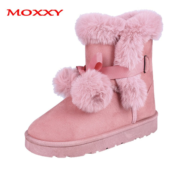 Fur Ball Bow Plush Boots - The JfJ