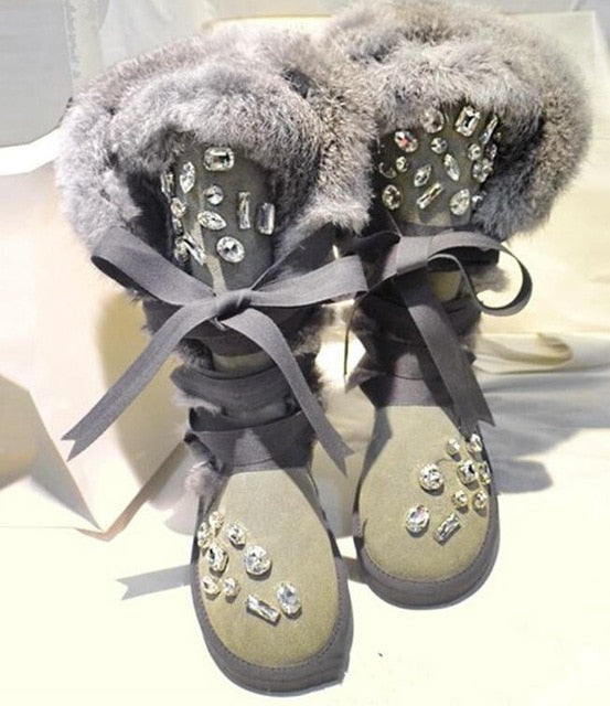 Rhinestone Lace-Up Furry Boots - The JfJ