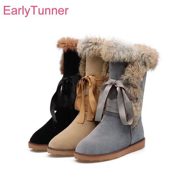 Lace-Up Furry Two-Tone Boots - The JfJ