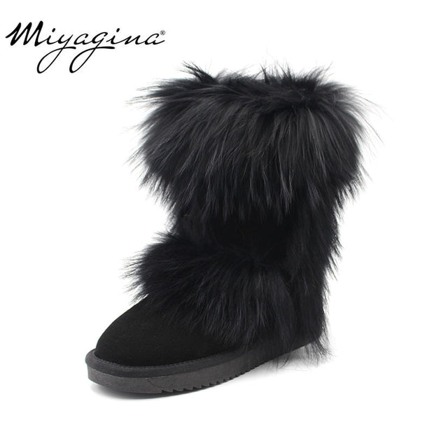 Fox Fur Calf  Snow Boots - The JfJ