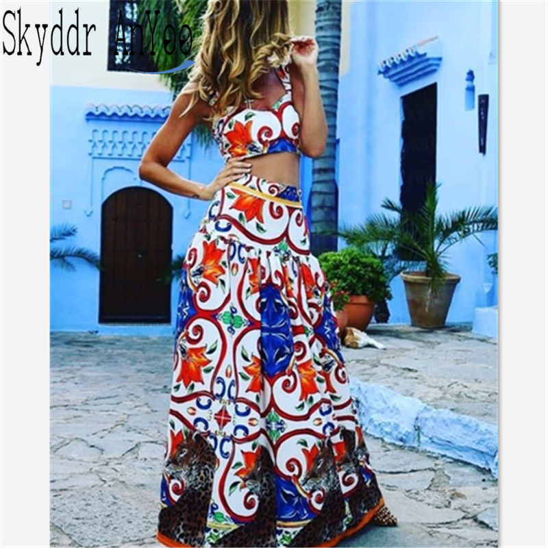 Boho Crop Top  Maxi Skirt Set