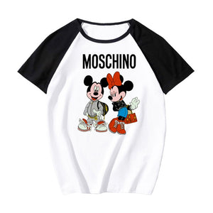 Moschino Disney  Mickey Minnie Mouse O-Neck T-Shirt