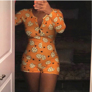 Long Sleeve Print Lounge Romper