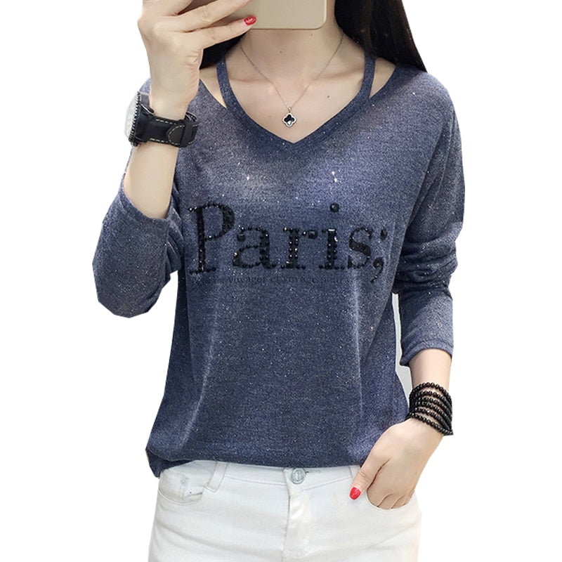 Diamonds Letter Paris Long Sleeve Shirt
