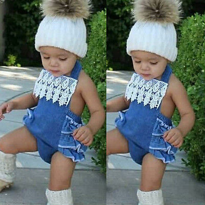 Baby Girls Ruffles Lace  Sleeveless Belt Romper Backless
