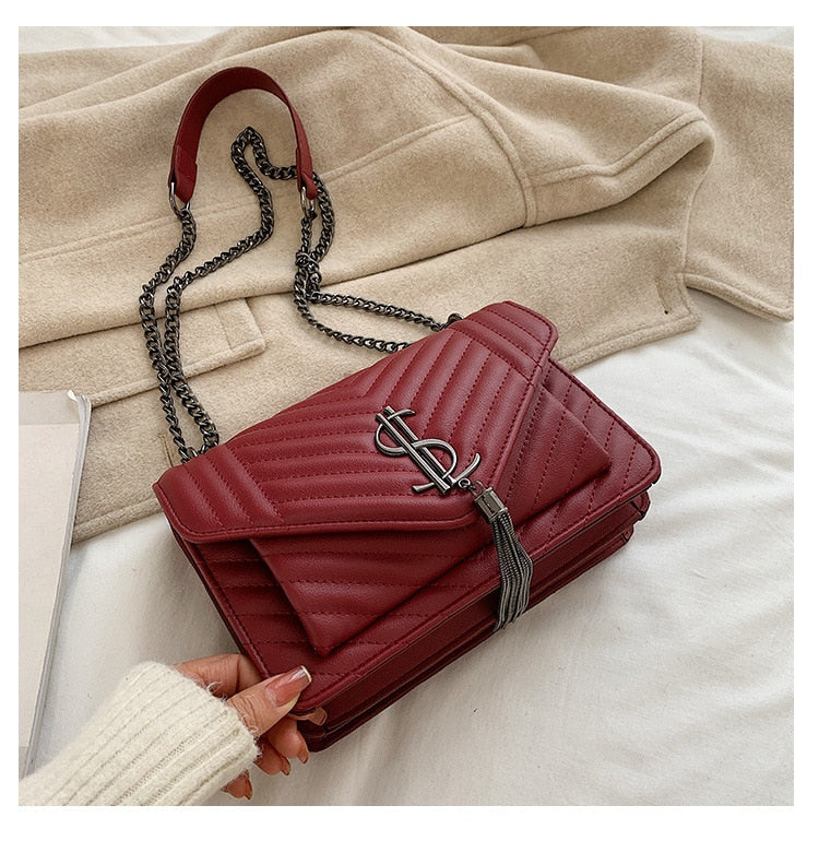 SL Leather Tassel Crossbody  Messenger Bag