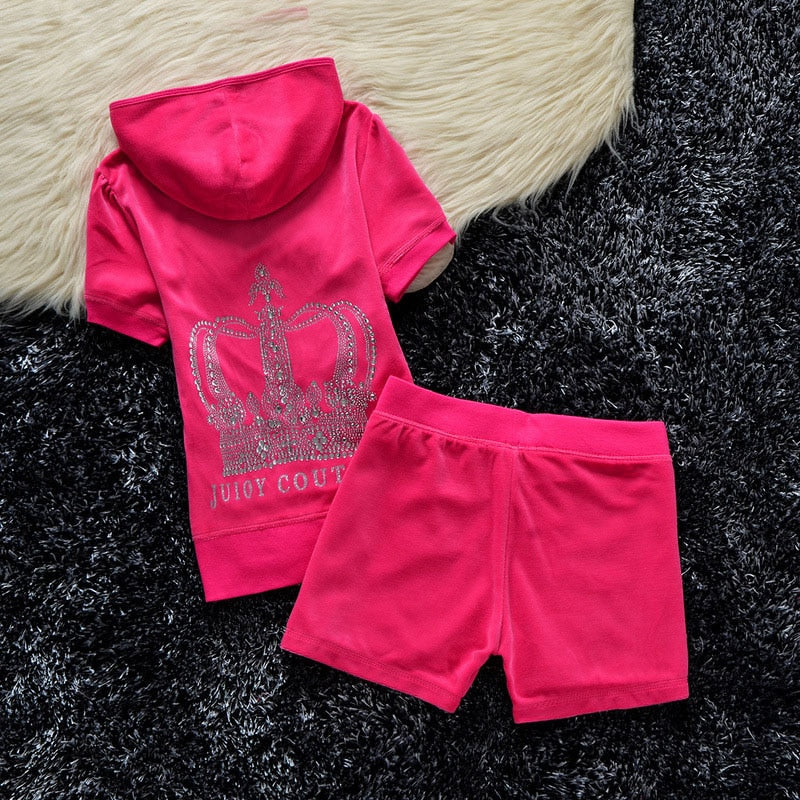Juicy Couture Studded Crown Velour Tracksuit 609 2pcs Women Suits