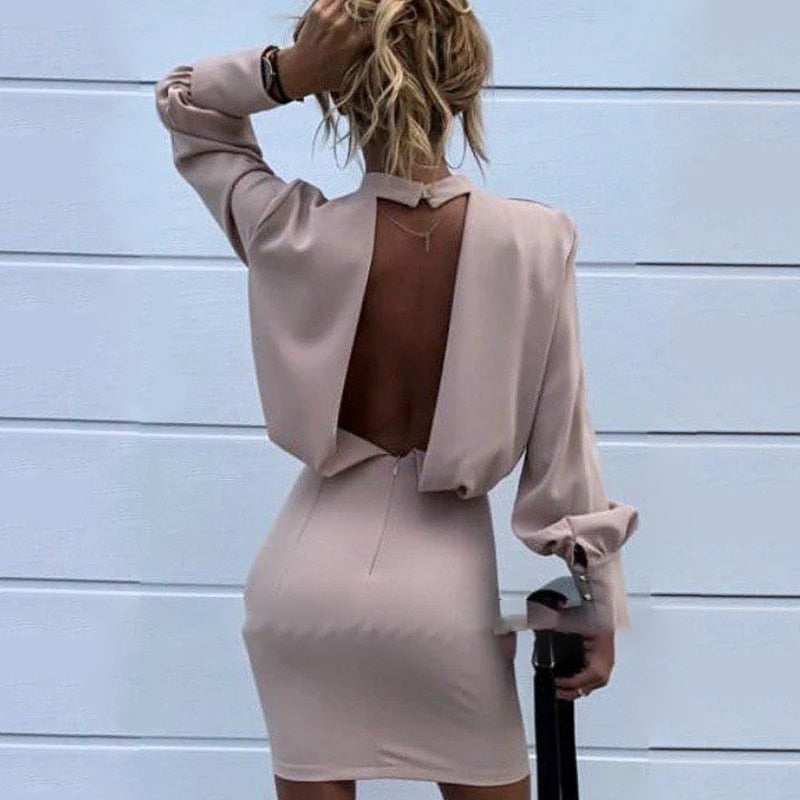 Backless Vintage Long Sleeve Mini Dress