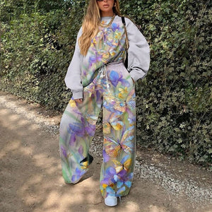 Multi Print Casual Sweat Suit