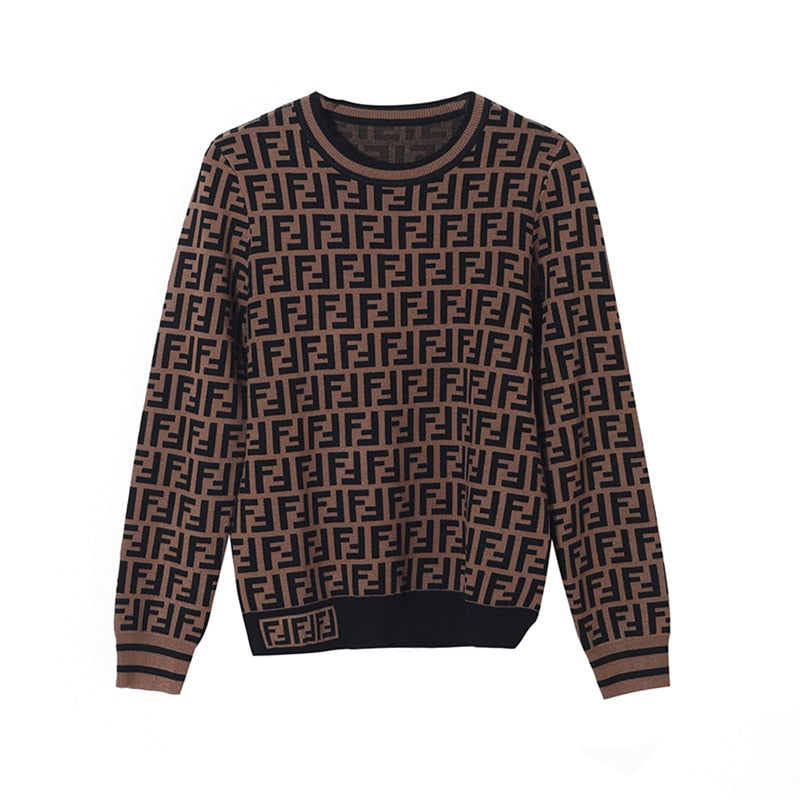 FENDI  Brown Sweater With Double F