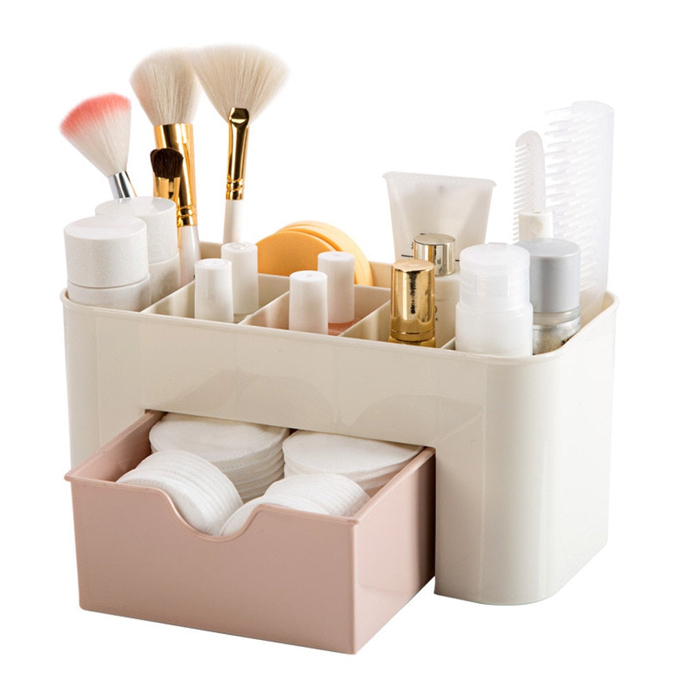 Plastic Cosmetic Storage Box w/Drawer Organizer