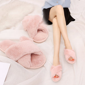 CROSSOVER FAUX FUR SLIPPERS