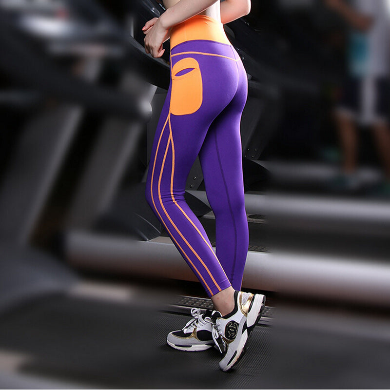 Yoga Pants With Side Pocket Patchwork High Waist - The JfJ