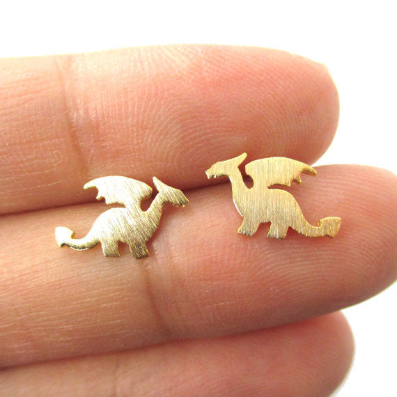 Mini Dragon Silhouette with Stud Earrings - The JfJ